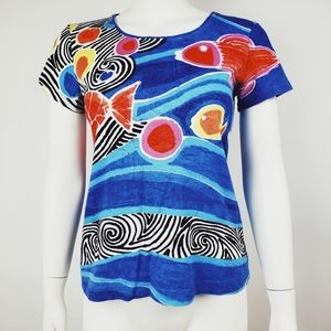 CHICOS Blue Red Fish Top 0 S Small